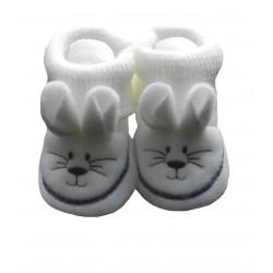 Chaussons naissance blanc tête de souris