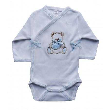 Body bébé manches longues blanc et bleu