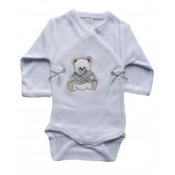 Body bébé manches longues blanc et gris
