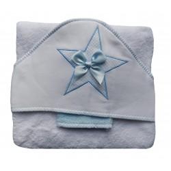 Parure linge de bain blanche et bleue, étoile brodée
