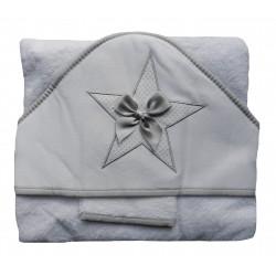 Cape de bain et gant de toilette blanc et gris pour bébé