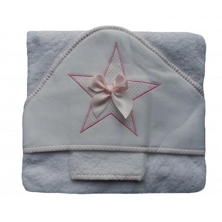 Cape de bain bébé fille blanche et rose, broderie étoile