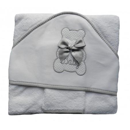 Cape de bain bébé mixte blanche et grise.