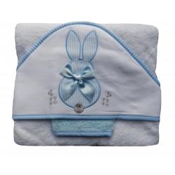 Cape de bain et gant de toilette pour bébé, blanc et bleu