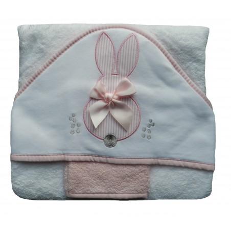 Cape de bain bébé rose lapin