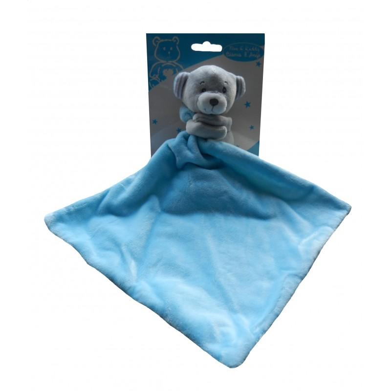 Peluche ourson bleu velours