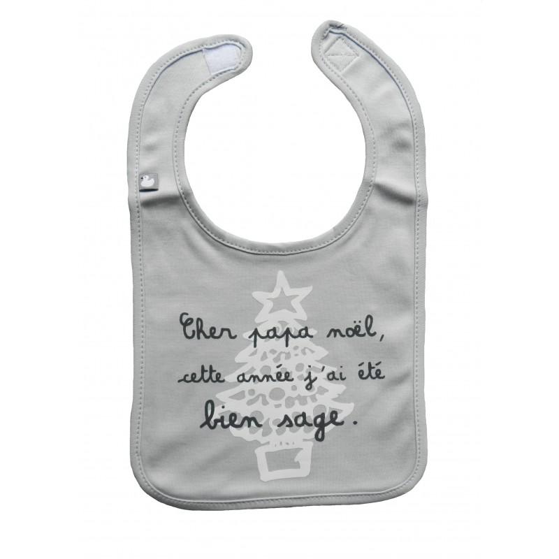 Bavoir bébé gris thème noël