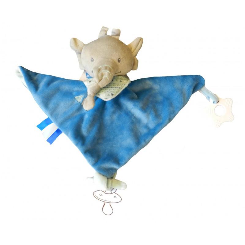 Doudou plat éléphant bleu avec anneau de dentition et attache sucette