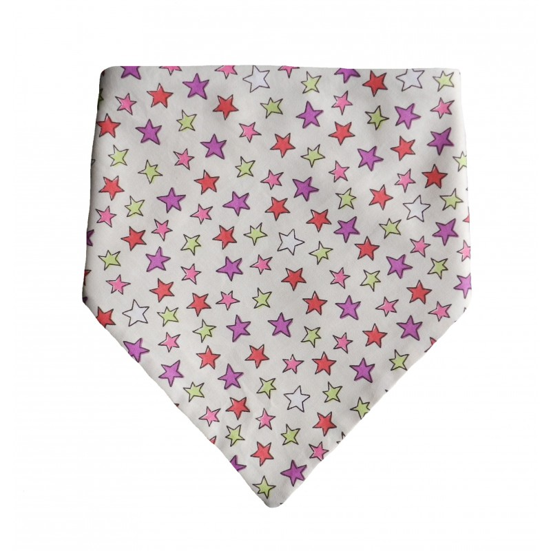 Bavoir bandana fait main étoiles multicolores