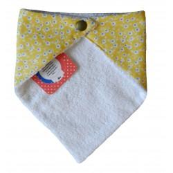 Dos bavoir bandana jaune à fleurs