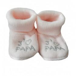 Chaussons naissance j'aime papa rose
