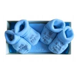 Coffret bleu bonnet et chaussons naissance