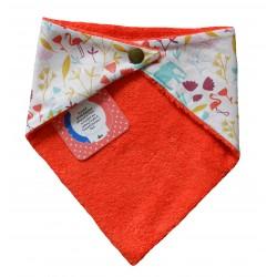 Bavoir bandana dos en coton éponge corail avec attache par boutons pressions