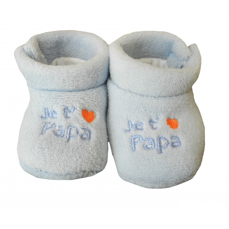 """Chaussons polaire bleu pour bébé """"Je t'aime papa"""""""