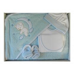 Coffret naissance 5 pièces pour garçon: cape de bain, gant de toilette, bavoir, bonnet et chaussons naissance