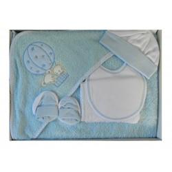 Cape de bain et ses divers accessoires: bavoir, gant de toilette, bonnet et chaussons naissance