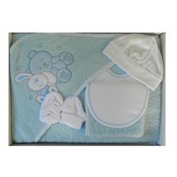 Coffret naissance bleu composé d'une sortie de bain, d'un gant de toilette, d'un bavoir, d'un bonnet et de chaussons naissance