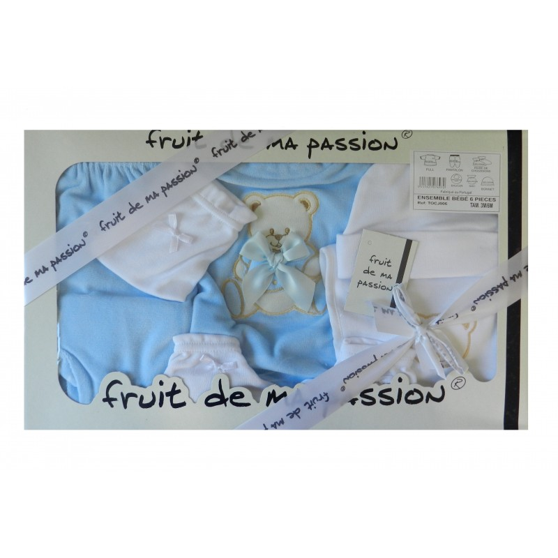 Coffret naissance bleu et blanc 6 pièces