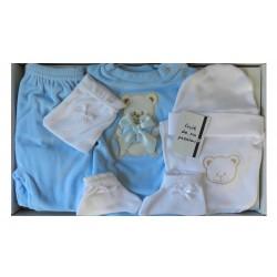 Parure blanche et bleue pour la naissance. Plusieurs accessoires indispensables pour petit mec!