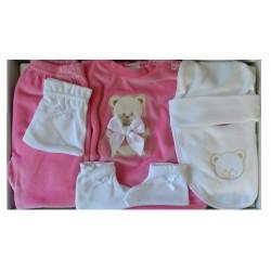 Kit naissance fille en velours de couleur fuchsia et blanc
