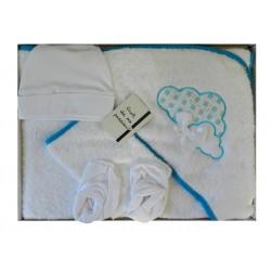 Cape de bain et ses accessoires pour bébé blanc et turquoise
