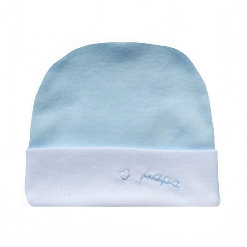 Bonnet naissance bleu ciel et blanc j'aime papa