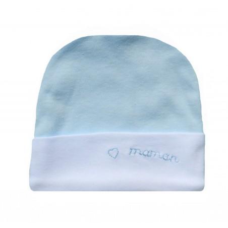Bonnet naissance j'aime maman bleu ciel et blanc