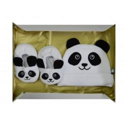 Coffret thème panda comprenant un bonnet naissance et une paire de chaussons